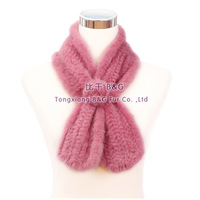 BG30465 11 Colors  Genuine Knitted Mink Fur Scarves  Winter Women Stole  Solid ColorWith Rose  Knittted Mink scarf