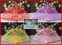 Hot-sell free shipping 100pcs/lot black wedding lace fan,lace hand fan
