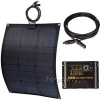 UK STOCK! 30W 12V Flexible Mono Solar Panel Fiberglass Kit, 10A Regulator/Controller,10m MC4 Cable, Complete Kit, NO custom tax