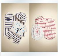 2014 free shipping baby Clothing set 4Pcs set striped T-shirt+rompers +shorts+hat newborn infantis cotton conjuntode roupa yes