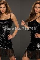 2014 Women Sexy Women Black Tassel Adornment Sequin Club Dress Free Shipping