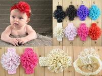 15pcs Crochet Baby headband , Polka dot Chiffon flower Crochet headbands free shipping U Pick Colors