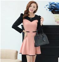 2014 New Fashion Autumn Women's Dresses Elegant Long-Sleeve O-neck Patchwork Color Female Dress