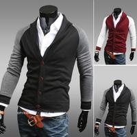 Free shipping 2014 new arrive autumn cotton men jacket casual slim Single Breasted men sweatshirt color block splicing men coat