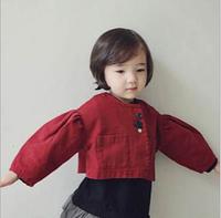 2014 autumn models girls coat solid color lantern sleeve jacket short paragraph