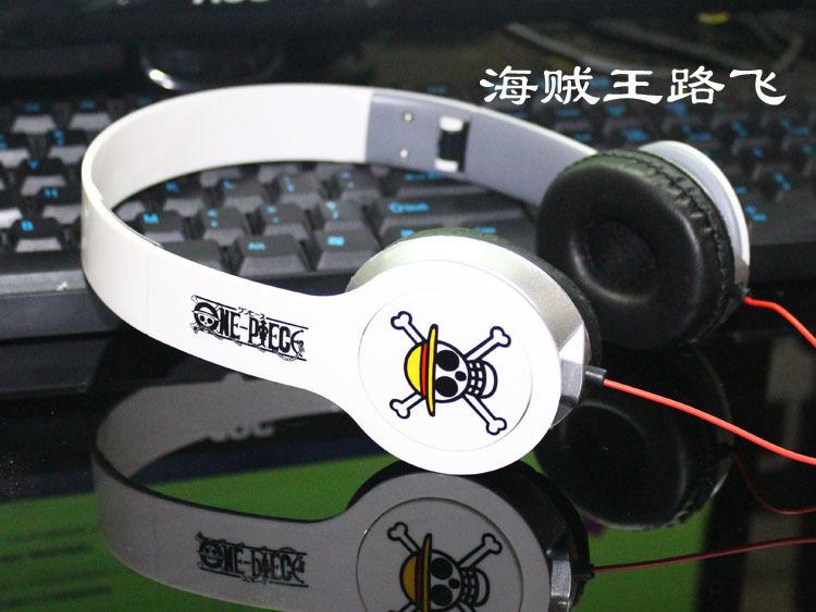 Free Shipping!Japanese cartoon Anime one piece luffy skull Cosplay Headband 3.5mm wired Earphone Headphone(China (Mainland))
