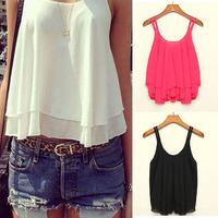 Superb! 1PC Women Bilayer Sleeveless Shirt Chiffon Loose Vest Tank Tops Free Shipping&Wholesale Alipower