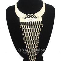 Vintage Gold Statement Tribal Navajo Aztec Mesh Chain Triangle Bead Necklace Top Jewelry Free Shipping