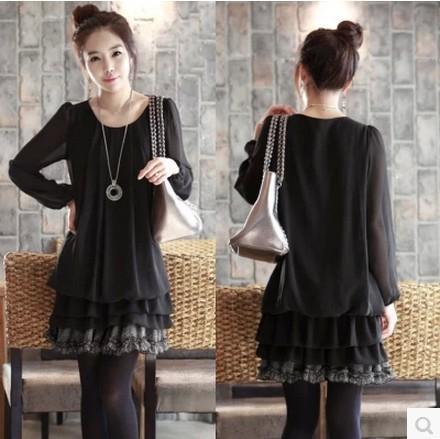 autumn and winter dresses women 2014 new loose plus size slim thin folds Puff Sleeve flounced pleated pullover dress LI696(China (Mainland))