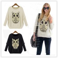 Bat Sleeve Sweater Owl Pattern Pullover Lady Casual  Knitwear Free Size W4371