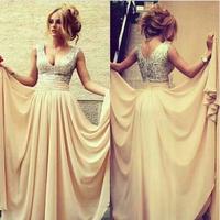New Fashion A-Line Long Sequin Evening Dress Chiffon Sleeveless V-Neck Formal Party Dress Long 2014 Custom Made