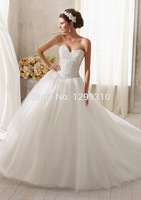 Free Shipping High Quality Custom-made Appliques Sashes Lace Tulle Wedding dress 2014