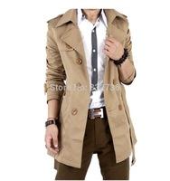 FREE SHIPPING New 2014 arrival Fashion urban  Man double breasted long slim plus size Men trench coats khaki black