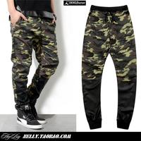 Free shipping men fashion hanging crotch pants patchwork pants big crotch pants overalls Camouflage men pants trousers LP29