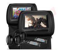 "7"" Dual Car DVD Headrest Player Game DVD USB/SD IR/FM,Car Pillow Monitor,Seat back monitor, Headrest Monitor Screen Display"