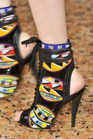 2014 newest fashion beading patchwork ankle boots lace up peep toe ankle strap high heels boots women gladiator boots size 35-41