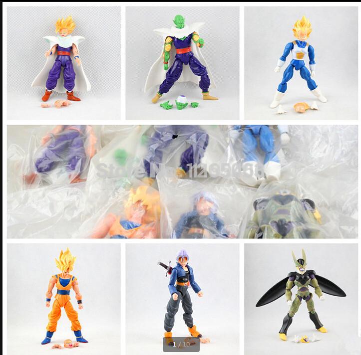 Anime Action Figures Toy 1 Lot=6pcs Dragon Ball Z Son Goku Piccolo Vegeta Cell 16cm PVC Figure Set Loose Toys Moveable Head B50(China (Mainland))