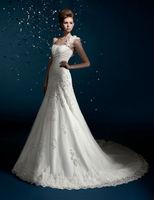 2014 New Fashion A-Line Sleeveless Chiffon Lace Band Wedding Dress Custom Bridal Gown
