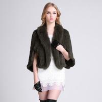 Fashion Short Design Plus Size Luxury Fox Fur Collar Top Grade Rabbit Fur Coat Female Three Quarter Ruffles and Batwing Sleeve