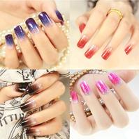 Free shipping nail art 2014 new flash powder texture gradient UV nail stickers ,3D  Gradient Ramp Nail Polish Stickers