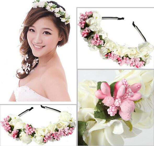 Pink/White Flower Garland Boho Floral Headband Headwear Garland Festival Wedding Bridal Hairband Women Free shipping(China (Mainland))