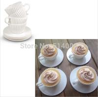 Bake & Cupcake Set Silicon Bake Cup Cake Muffin Mold Tea Cups & Saucers (8pcs)