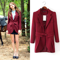 Women's new arrival 2014 autumn and winter medium-long solid color slim suit jacket lacing overcoat