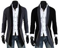 High quality! 2014 new casual men's trench coat, fashion slim trench coat men, men long design splicing coat, free shipping