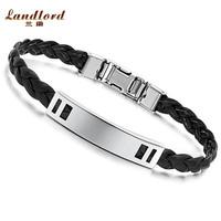 [Landlord] Free laser engraving leather bracelet men jewelry fashion bangle 316L Titanium Stainless steel bracelet for men PH504