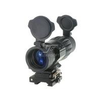 JJ Airsoft 4X FXD Magnifier with Adjustable QD Mount (Black)