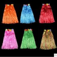 5pcs/lot Hawaiian grass skirt Hula Grass Skirt Flower Party Dress Beach Dance Costume 60cm Free Shipping