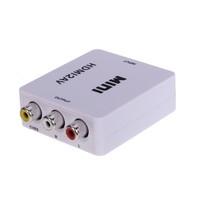 Wholesales Mini HD Video Converter Box HDMI to AV/CVBS L/R Video Adapter 1080P HDMI2AV Support NTSC and PAL Output Free shipping