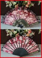 Free shipping 96pcs/lot Spanish style rose flower design plastic frame organza hand fan lace edge