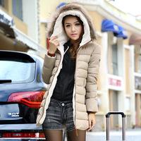 2014 New Arrival Winter Jacket Women,  Outwear Lady Warm Hooded Fur Collar Coat, Woman Parka