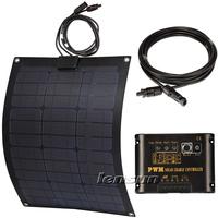 50W 12V Fiberglass Flexible solar panel kit, 10A regulator/controller,10m MC4 cable, complete kit for motorhome,boats,UK STOCK!