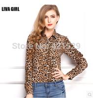 Women's European Leopard Print Chiffon Shirt Slim  Loose Size Shirt  Lapel Shirt