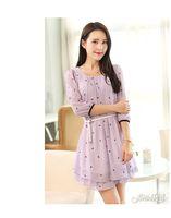 Vestidos New 2014 women summer-autumn dress half sleeve printed solif chiffon dress elegant fashion girl csual dress loose XL