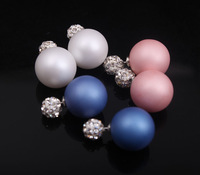 New arrival colorful double sides dull polish pearl rhinestones round ball stud earrings Korean trendy statement earrings x245