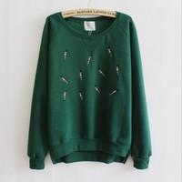 [Magic] Embroidery little man o neck long sleeve women cotton hoodies fleece inside high quality sweatshirt 5color free shipping
