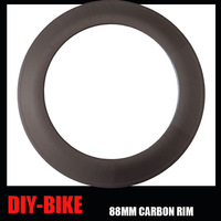 23mm Width 88mm CLINCHER single carbon rim 700C full carbon fiber 16H to 32H road bicycle rims with external nipples