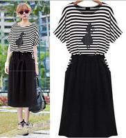 New Summer Women Short Sleeve Dresses Printed Stripes Patchwork Knee-Length Dresses Cute Princess Party Dress  Vestidos