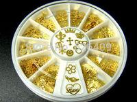 360Pcs Noble Gold Mixed Design 3D Metal Glitters Slice Nail Art DIY Decoration