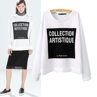 SX455 2014 Spring Autumn New European clothing fashion super beautiful fashion style white letters casual sweatshirt women hoody