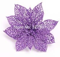 10pics 15 cm Christmas glitter hollow poinsettia flower multicolor artificial decorative flowers Xmas decorations CF8001