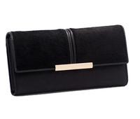 Autumn and winter  genuine leather wallet Europe horsehair splices long design wallet women purse women change purse