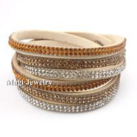 SWA ELEMENTS Austrian Crystal Stud Wrap Bracelet Female Double Velvet Leather Fashion Jewelry Handmade BFWS