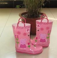 hot! 2014 new Cartoon fashion pink pig rainboots,Peppa Pig Kids Rain boots Rubber Girl Rain Shoes Fashion Waterproof Shoes