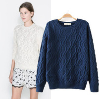 2014 Winter New Arrival Retro Women Knitewear High Quality Ladies Sweater Tops O-neck Fried Dough Twist Pullovers HHS8271