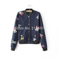 2014 new fashion women cute cartoon pattern printed Denim Jacket Lady casual stand collar zipper jacket coat#E852