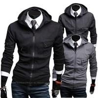 Free Shipping wholesale 2014 new fashion casual slim men hoodie men pocket decoration with a hood sweatshirts, size M-XXL